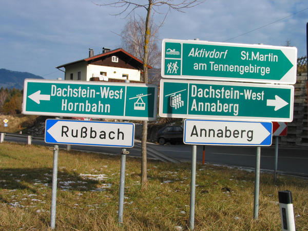 Austria ski region Dachstein West:  sign Russbach 22.8 kms after the departure Golling: to the course of the left turn after farther  on the Bundess -streat  to Russbach.