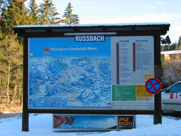 Austria skiing region Dachstein West:  parking area Russbach You reach 30.8 kms after the departure Golling the parking lot. In this overview board you can find out about all lifts of the ski region Dachstein  west.