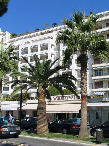 Hotel Vesuvio with roof garden in Cannes Photos of hotels directly on the beach of Cannes in immediate nearness to the film festival palace: Hotel Vesuvio with roof garden in Cannes