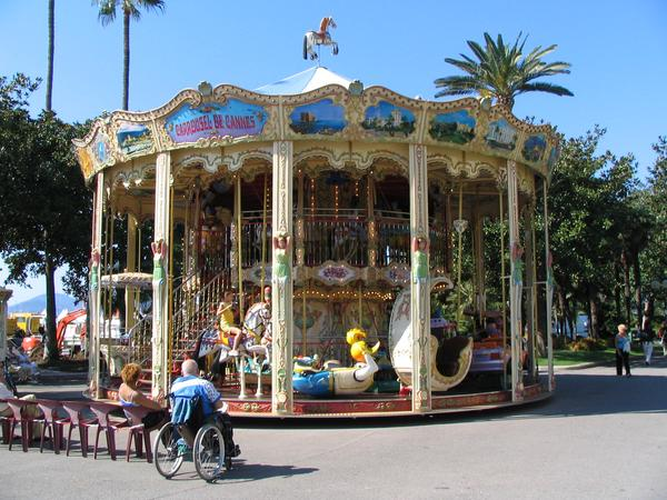 Carousel in the well-know beach in Cannes Close to the festival building is an old carousel with a lot of interesting details.