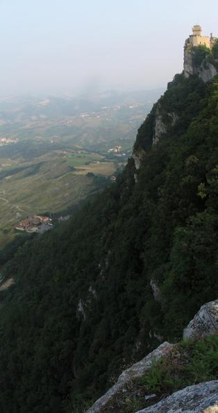 Rocks: precipitous slope of the Titano mountains So steeply it goes down on the eastern side of San Marino direction Rimini and Adriatic coast. The best protection before attackers from this side.