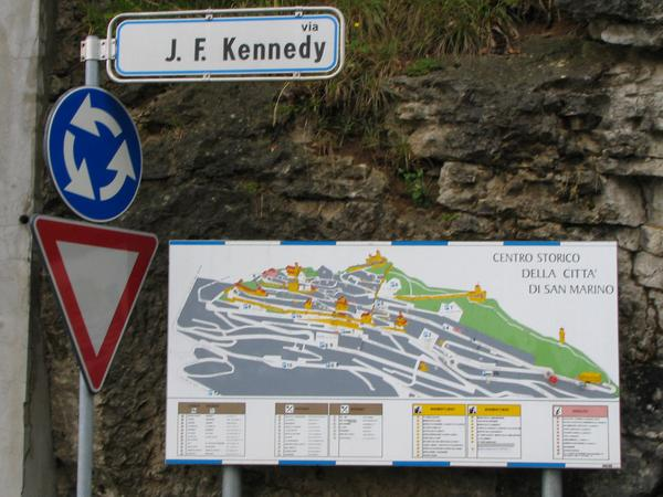 John F. Kennedy street in San Marino Every time we parked in the J.F.Kennedy street. For the first 3 hours 1.20 per hour. However, with 4. EUR one can park 6 hours, this reaches for Sight Seeing and food.