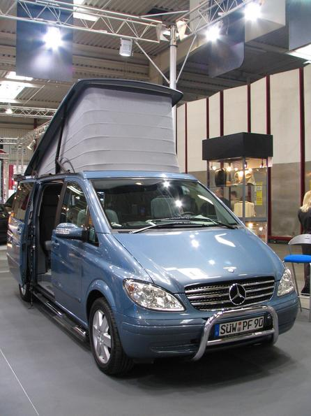 Mercedes Vito with rising roof A usefull step away from the moveable loudspeaker to a meaningfull use of multimedia in the vehicle. This vehicle was seen at Sevic.
