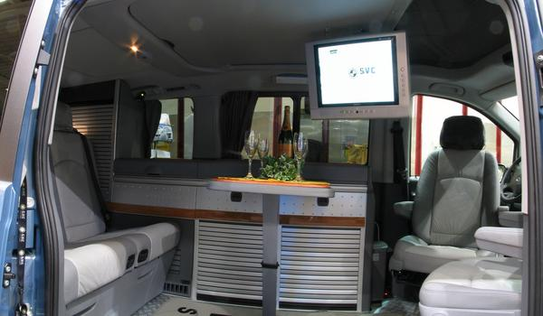 TFT with DVD player for top mounting in the camper Here shown in a camping solution built into a Mercedes Vito.
