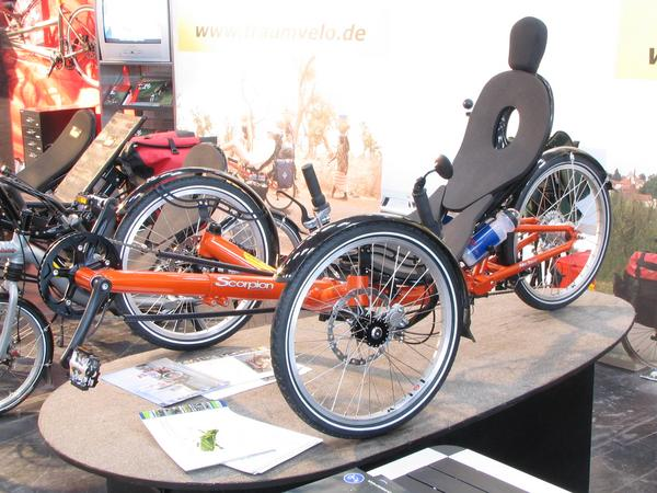 Bicycle for winter time Deck chair with 3 wheels and pedals. With such a tricycle one can also certainly ride a bike in winter on snow and ice.