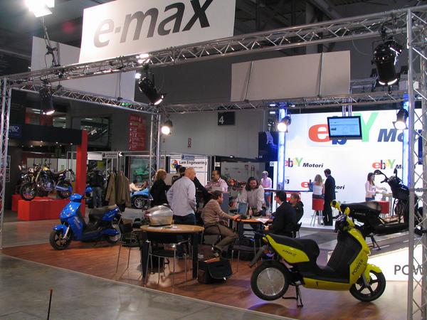 E-Max booth on the EICMA 2006 E-Max presents 3 new scooters in the EICMA. All in the same design, only the battery technic and maximal engine power is different at the new models.