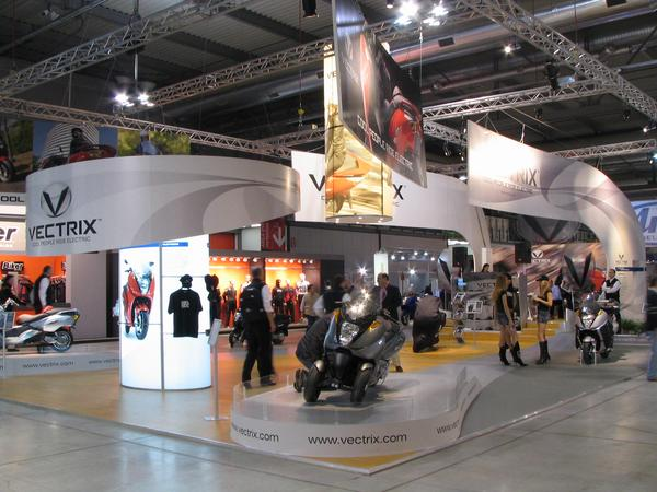 Vectix booth on the EICMA 2006 The with interval largest fair represantation for one single type of motorcycle. But it's not some motorcycle, but the electric future, we all hope for it.