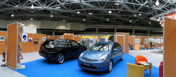 Toyota exhibition stand EVER Monaco in 2006 Prius and Lexus in the exhibition hall and many Prius for test driving before the Grimaldi forum. Indeed, the hybrid models of Toyota are a considerable progress to the today's cars.