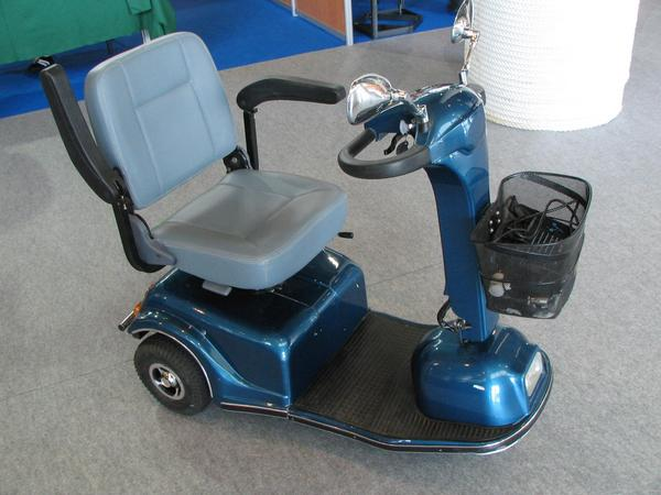 Mobile chair for walking disabled person 2 sealed lead acid battereies with 12V 25Ah are enough for one day driving. Motorized chair for disabled persons, which can go short distances still by them self.