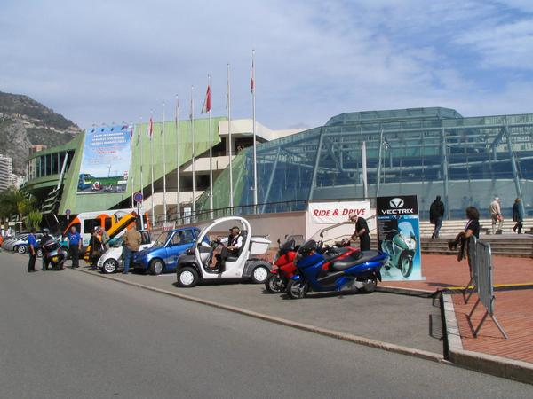 Test drive in front of the Grimaldi forum During the whole EVER Monaco in 2006 many different vehicles were ready before the Grimaldi forum for test driving. Electric mobility not only to look rather to experience.
