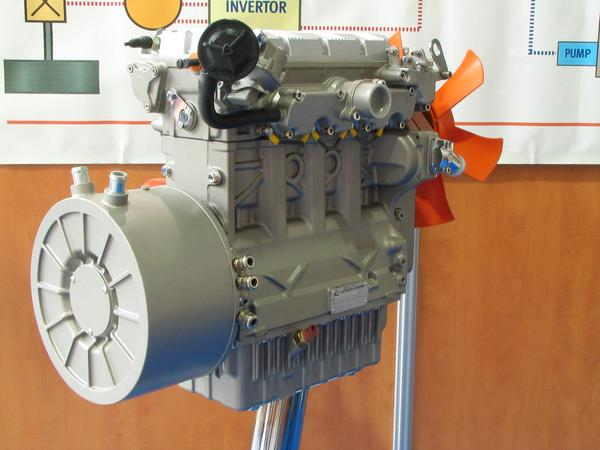 23 kW generator with diesel engine 23 kW could be the drive resistance of an optimized Hybrid minivan with 130 km/h. Because of the batteries the generator must cover only the average power demand.