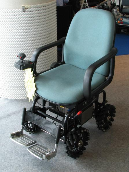 Electric wheel chair 4 individually controlled role wheels with individually steered rollers give this wheel chair an unbelievable mobility in every direction and turns right on the spot.
