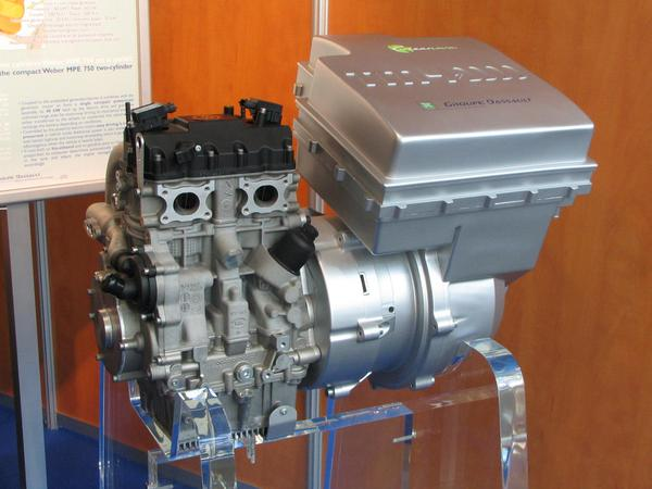 Hybrid engine for Renault Kangoo Complete drive system for an electric dominated hybrid car. It mixes serial and parallel hybrid together to an high e