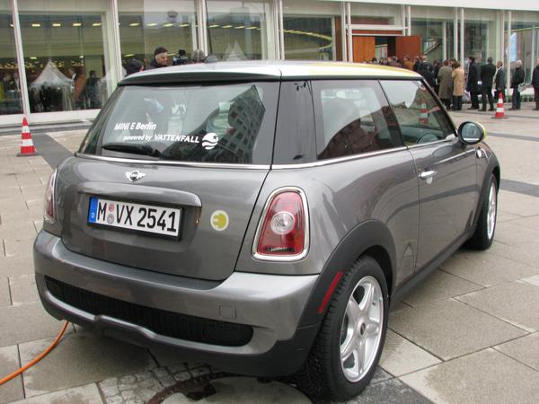 Electric car BMW mini Rear view from