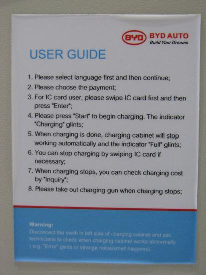 Instructions for fast charging This instructions are on the fast charging cabinet left from the screen.