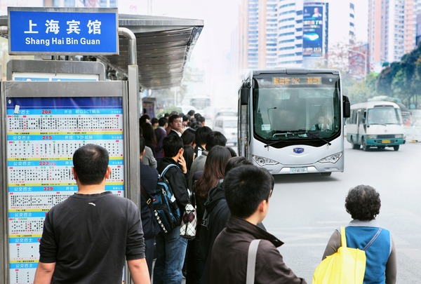 BYD electric bus 12 324 kWh batteries which are charged in 3 hours. Ran